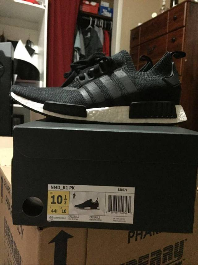 Wife's Cheap Adidas NMD R1 Core BLACK PEACH PINK unbox and on feet