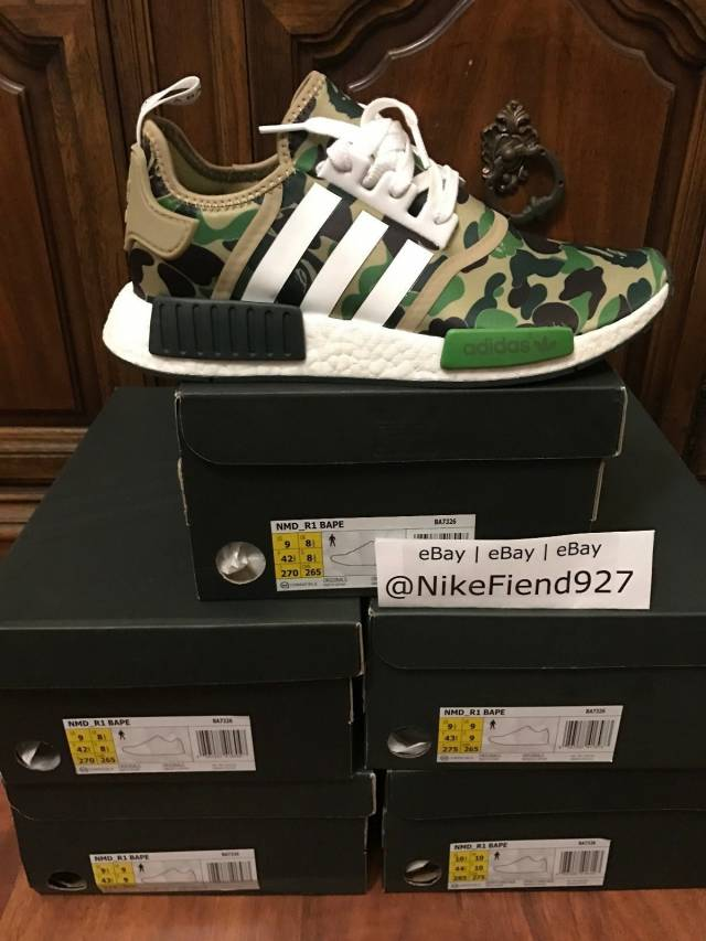 Adidas NMD R1 Bape Olive Camo Size 11.5 AUTHENTIC Bathing