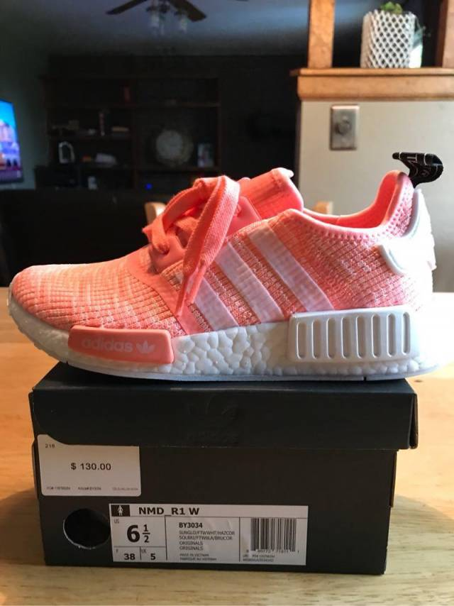 6e16a96e30bed Adidas NMD R1 W Sun Glow White Bright Pink Orange Coral BY3034 Women size  6.5 and 8