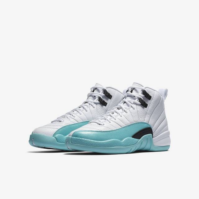 3e83c5fb6849 NIKE AIR JORDAN 12 XII RETRO GG GS 510815-100 WHITE LIGHT AQUA BLACK ...