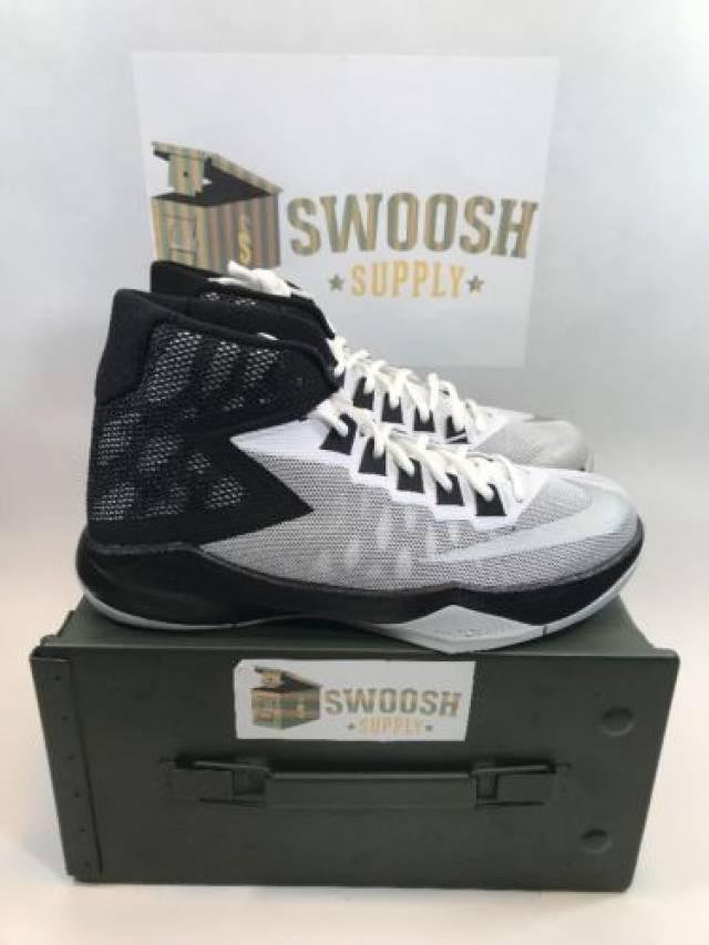 5664b30bec92 Nike Zoom Devosion Mens Basketball Shoes White Silver Black 844592 100 Sizes