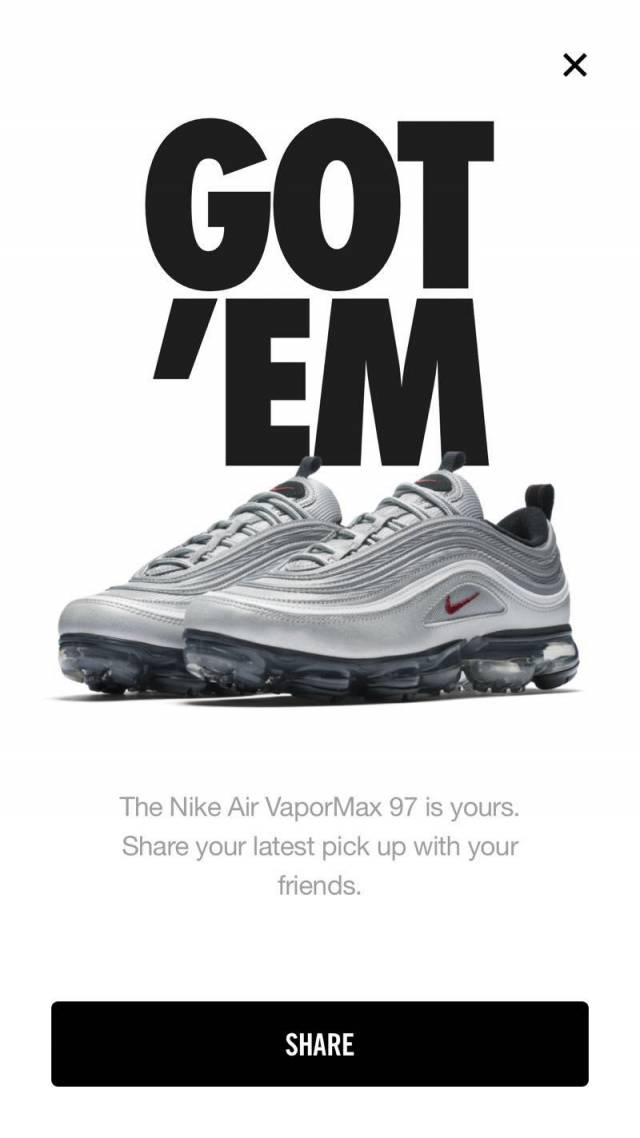 new style d6fab 86aff Nike Air Vapormax 97 Silver Bullet Size 12
