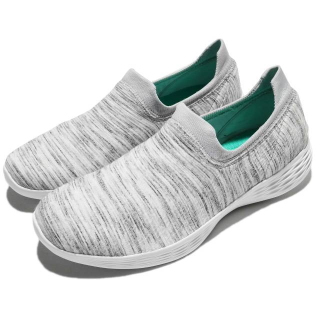Skechers You Define Grace Wide White Grey Women Shoes Slip-On Sneaker 14971W-WGY
