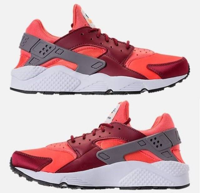 NIKE AIR HUARACHE RUN MEN's SPANDEX RUNNING GUNSMOKE - TEAM RED - RUSH CORAL NEW