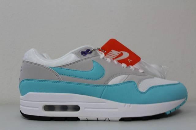 Men s Nike Air Max 1 OG Anniversary Aqua White Neutral Grey 908375-105 Size  12 8cba48b8a