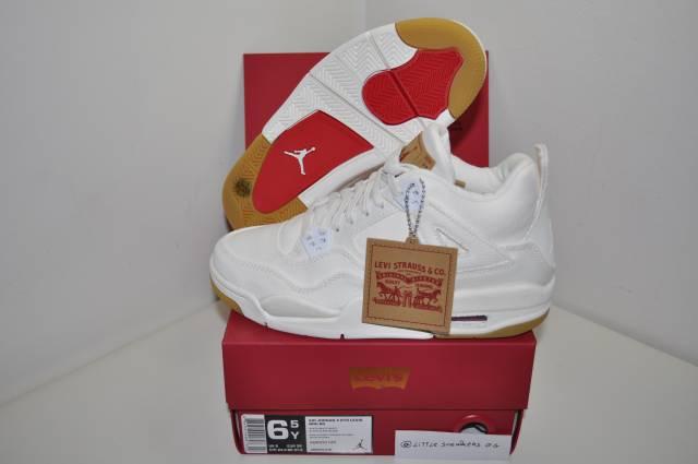 pretty nice 537f1 b739d Nike Air Jordan 4 Retro White X Levi's Gs 6.5 Us 6 Uk 3...