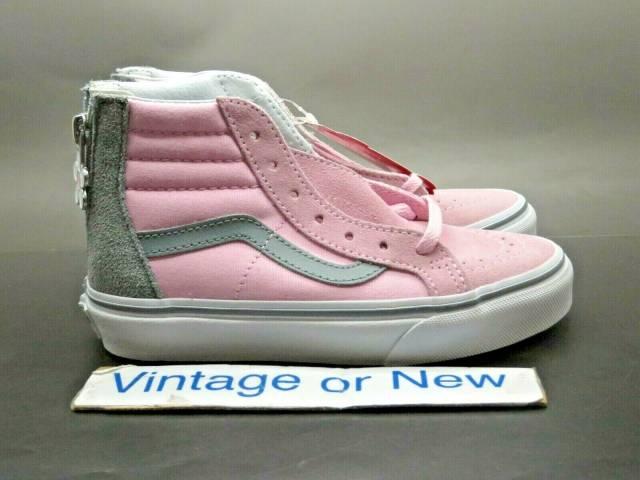 Girls Vans Sk8 Hi Flower Zip Pink Grey