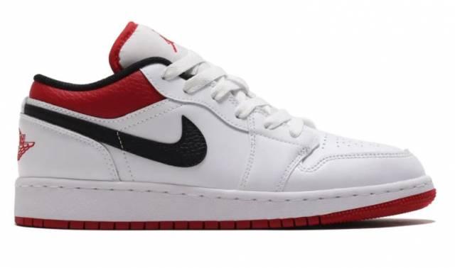 Air Jordan 1 Low Gs White Gym Red