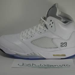 Air jordan 5 white metallic si...