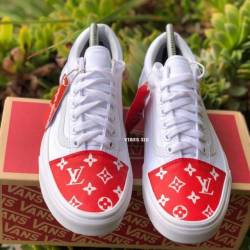 Vans x supreme lv customs toe box