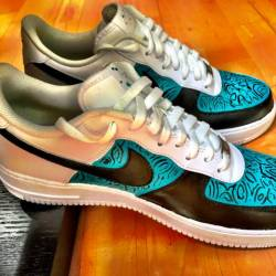 """Nike air force """"turquoise blac..."""