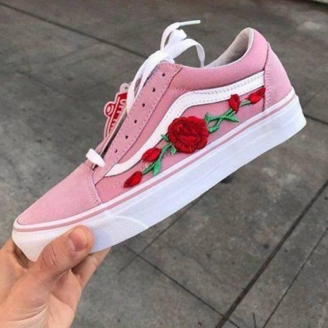 Pink Old Skool Vans Red Rose Patch
